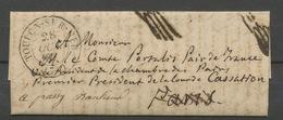 1837 Lettre En Franchise De Toulon Pour Paris + Marques De Vérif. P5192 - Postmark Collection (Covers)