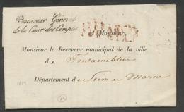 1819 Lettre En Franchise Affranchit PAR ETAT ROUGE + Griffe Procureur TB P520 - Postmark Collection (Covers)