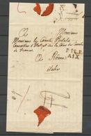 """1818 Lettre En Port Payé P12P Aix Puis """"à Détaxer"""" Pour Franchise. Rare P5200 - Postmark Collection (Covers)"""
