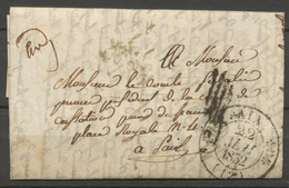 1832 Lettre En Franchise CAD T11 AIX + Griffe De Vérification. Superbe P5203 - Postmark Collection (Covers)