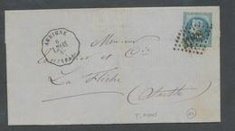 1870 Lettre N°29B GC3188, Conv-Station Aubigne, Arrivée à La Flèche TB P521 - 1801-1848: Precursors XIX