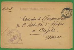 Enveloppe GENDARMERIE NATIONALE CAD D' Arrivée Au Maroc Le 31/08/1917. P681 - Postmark Collection (Covers)