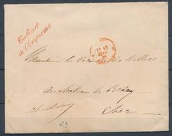 "1856 Env. FRANCHISE Griffe Rouge ""CABINET DE L'EMPEREUR"" Sup. X1033 - Postmark Collection (Covers)"