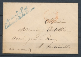 Env. En Franchise Griffe Bleue Service Du Roi / Cabinet De La Reine SUP. X1035 - Postmark Collection (Covers)