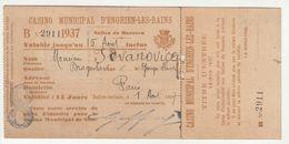 Casino Municipal D'Enghien-les-Bains Ticket 1937 B200625 - Tickets - Vouchers