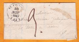 1847 Lettre Pliée Avec Corresp De Cruzy Près Saint Chinian, Moyen Cachet Vers Aniane Via Béziers Et Montpellier - 1801-1848: Vorläufer XIX