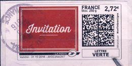 INVITATION Pour Lettre Verte à 2,72€ CACHET ROND  OBLITERE ANNEE 2016 - Collectors