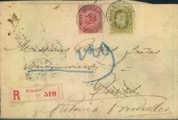 "1887, Registered Letter From ""BRUXELLES (LEGILATIE)"" To Puers, France And Back - Belgique"