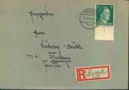 1944, Einschreiben Ab DURACH (RPD Augsburg) Mit Handschriftlichem R-Zettel - Lettres