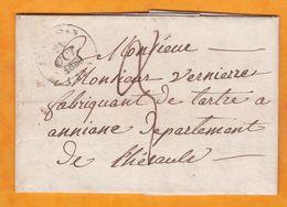 1845 Lettre Pliée Avec Corresp De Cébazan Près Saint Chinian, Moyen Cachet Vers Aniane Via Béziers Et Montpellier - 1801-1848: Vorläufer XIX