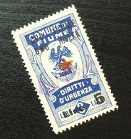 Fiume Croatia Yugoslavia Italy Fiscal Revenue Stamp Lire 5 B61 - Occ. Yougoslave: Fiume