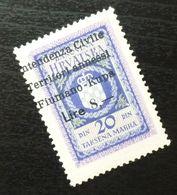 Fiume Croatia Yugoslavia Italy Fiscal Revenue Stamp Lire 8 B62 - Occ. Yougoslave: Fiume