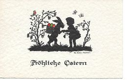 Easter Bunny, Lapin De Pâques, Osterhase, Easter Eggs, Oeuf De Pâques, Girl, Fille, Bird, Butterfly  - Signed - Silhouettes