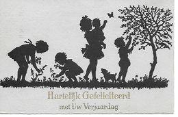 Children, Enfants, Kinder, Picking Flowers, Dog, Butterfly, Cueillir Des Fleurs, Chien, Papillon, Blumen Pflücken, Hund - Silhouettes