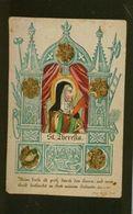 SANTINO ANTICO IMMAGINE RIPRODOTTA Santa Teresa D'Avila  INCISIONE COLORATA A MANO Altarino Silografato Praga 1800 - Religione & Esoterismo