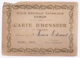 NAMUR   Carte D'honneur école Place L'ilon   1921 - Diploma & School Reports