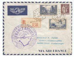 N°261+ 311+284A LETTRE REC AVION FRANCE ANTILLES C. HEX PARIS 96C AIR FRANCE 4.9.1937 POUR BASSE TERRE GUADELOUPE - Marcophilie (Lettres)