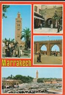 Carte Postale. Maroc. Marrakech. 4 Vues. Mosquée Koutoubia. Jamâa El Fna. Portes. Etat Moyen. - Monumentos