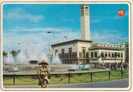 Carte Postale. Maroc. Casablanca. Préfecture. Horloge Municipale. Fontaine Lumineuse. Etat Moyen. Taches. - Monumentos