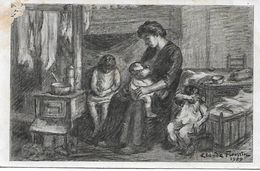 L100G338 - Dessin De Famille - Femme Allaitant Le Bébé Avec Ses Deux Autres Enfants -  Illustrateur Claude Firmin 1929 - Babies