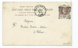Great Britain Victoria Prepaid 1d Postcard To Belgium  Birmingham L56 Clear Crisp Cancel Squared Circle - Covers & Documents