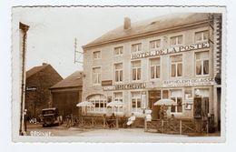 CPSM GEDINNE - Hôtel De La Poste - Animée & Vieille Auto - Ed. Laflotte 619 - Bières Vandenheuvel - Pompe Shell - 2 Scan - Gedinne