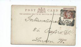 Great Britain Victoria Prepaid 1/2d Postcard  Clear Crisp Cancel Squared Circle Bradford F7a  1893 - Briefe U. Dokumente