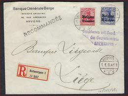 """PERFIN  AANGETEKENDE Brief Antwerpen - Luik Bankcensuur """"Geschlossen Mit Genehmigheid/des Gouvernements"""" ! LOT 251/15 - Guerre 14-18"""