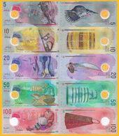 Maldives Set 5, 10, 20, 50, 100 Rufiyaa 2015-2017 UNC Polymer Banknotes - Maldives
