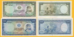 Portuguese Guinea Set 50 & 100 Escudos 1971 UNC Banknotes - Billets