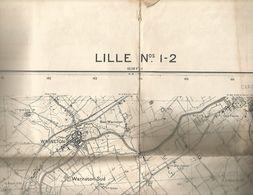 Carte De La Région Lilloise Dim90cmx70cm-lille N1.2 Warneton-quesnoy-deulémont-etc-1935-état Moyen - Cartes Géographiques
