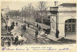 A2 Rhône 69 VILLEFRANCHE SUR SAONE Boulevard Louis Blanc Gare Et Train Du CFB 1902 Précurseur  TBE - Villefranche-sur-Saone