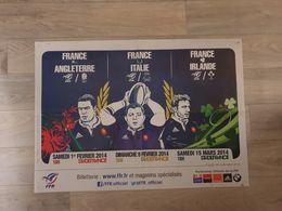 Poster 3 Matches De L'équipe De France De Rugby Février Et Mars 2014 - Rugby