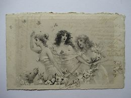 TROIS  JEUNES   FEMMES  ET  FLEURS   ....   GRAVURE           TTB - 1900-1949