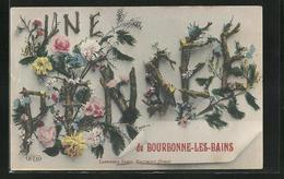 Passepartout-CPA Bourbonne-les-Bains, Une Pensee, Schriftzug Aus Zweigen Et Blüten - Bourbonne Les Bains