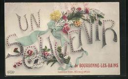 Passepartout-CPA Bourbonne-les-Bains, Un Souvenir, Schriftzug Avec Schleife Et Blüten - Bourbonne Les Bains