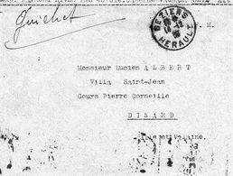 C4 1939 Lettre De La Caserve Vauban à SETE En FM               Mention Guichet - Marcophilie (Lettres)