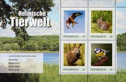 Austria - 2020 - Native Animal Kingdom II - Red Kite, Rabbit, Muskrat, Eurasian Blue Tit - Mint Souvenir Sheet - 2011-... Nuovi & Linguelle