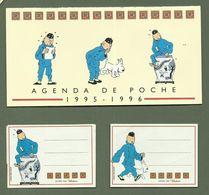 AGENDA DE POCHE  1995 1996 TINTIN HERGE OFFERT PAR POULAIN ETIQUETTES CAHIER SCOLAIRE - Vieux Papiers