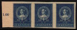✔️ Croatia 1943 - Katarina Zrinska Imperforated Strip/3 - Mi. 103 U (*) MNGAI - €180 - Kroatien