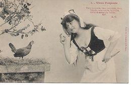 L100G365 - Viens Poupoule -  Femme Avec Un Gros Couteau - Texte De A.G -  A.Bergeret - Bergeret
