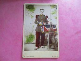 GRAND CDV PHOTO MILITAIRE UNIFORME N° COL 128 FUSILS  PHOTO A.GROSSIN 75 PARIS - Guerre, Militaire