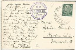 ALEMANIA 1936 TP LISBOA MAT NAVAL BUQUE HAPAG DAMPFER OCEANA DE LA KDF ORGANIZACION DEL PARTIDO NAZI - Ships