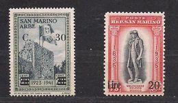 Saint-Marin San Marino 1942 Yvertn° 222-223  (*) MLH Cote 18,30 € - Saint-Marin