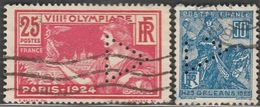 """France. Perfin """"triangle"""" Deux Timbres - France"""