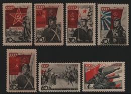 Russia / Sowjetunion 1938 - Mi-Nr. 588-594 ** - MNH - Rote Armee (I) - Nuevos
