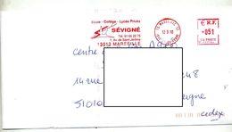 Lettre Flamme Ema Marseille College Lycee Sevigné - Marcophilie (Lettres)