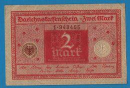 DEUTSCHES REICH 2 Mark01.03.1920Série # 1. 948465   P# 59DARLEHENSKASSENSCHEIN - [ 3] 1918-1933 : República De Weimar