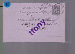 Entier Postal 10c  Type Sage  Destination Marseille  Année 1885 - Enteros Postales