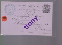 Entier Postal 10c  Type Sage   Destination Paris  14 Aout 1885 - Enteros Postales
